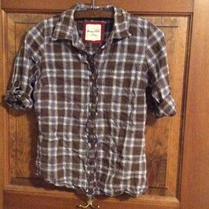 Heritage 1981 plaid 3/4 button up, size M